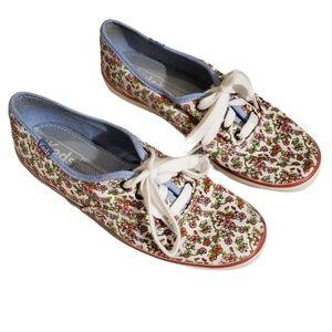 Keds Plimsolls White Floral Print BOHO Sneakers 7